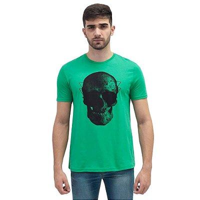 Camiseta Masculina Básica Caveira - Verde - World Xtreme