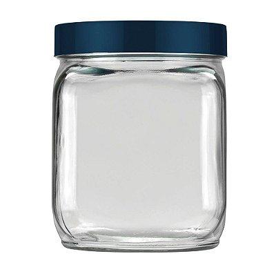 Pote Quadrado com Tampa Rosqueável 750ml - Azul Escuro-  Invicta