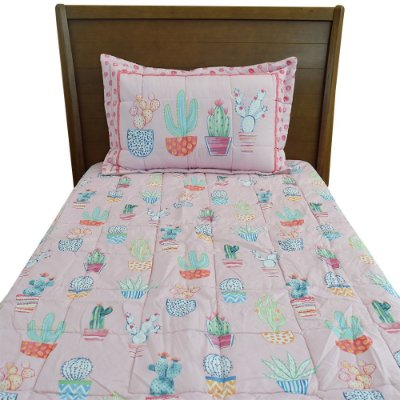 Cobre leito Infantil Solteiro Versátile - Cactos - Rosa - Hedrons