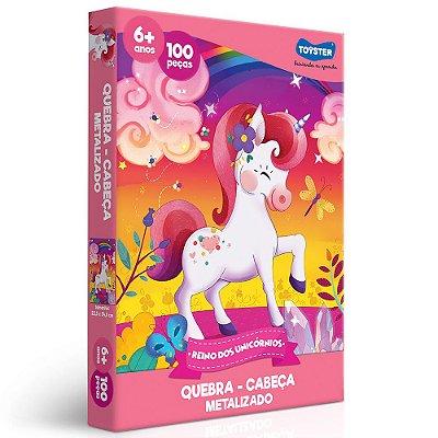 Quebra Cabeça Metalizado Reino dos Unicórnios - 100 peças - Toyster