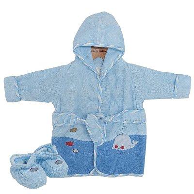 Roupão Baby Com Pantufas - Baleia - Camesa