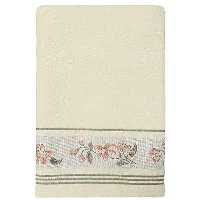 Toalha de Banho Jacquard Premium - Marfim com Flores - Döhler