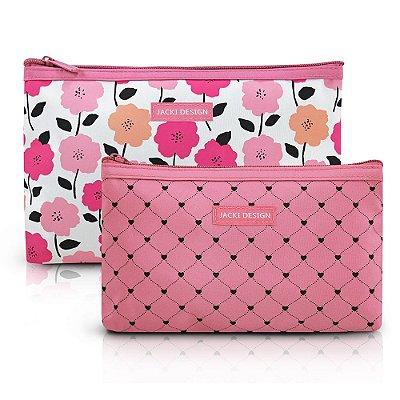 Kit Necessaire Pink Love - 2 peças - Rosa - Jacki Design