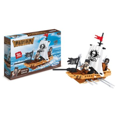 Blocos Para Montar - Piratas - Navio de Batalha - 100 Peças - Xalingo