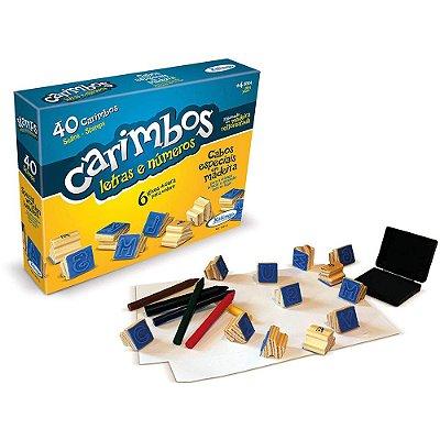 Carimbo Letras e Números - 40 carimbos - Xalingo