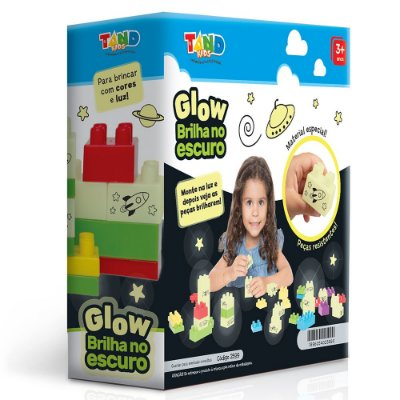 Blocos de Montar Tand Kids - Glow Brilha no Escuro - 40 Peças - Toyster
