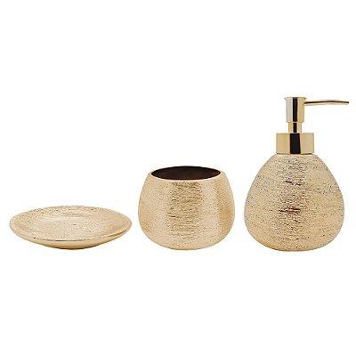 Conjunto para Banheiro Lunar Dourado - 3 Peças - Mimo