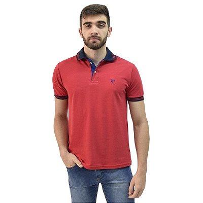 Camisa Polo Masculina Piquet Gola Contraste - Vermelho - Wayna