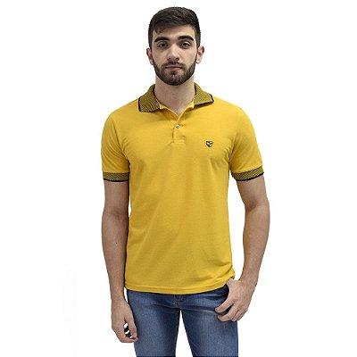 Camisa Polo Masculina Piquet Gola Contraste - Mostarda - Wayna