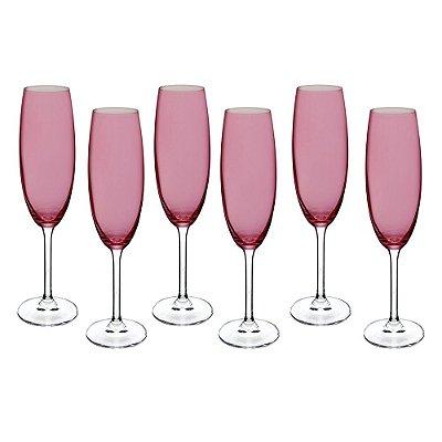 Jogo de Taças para Champagne - 6 Peças - Rosa - Crystalite Bohemia