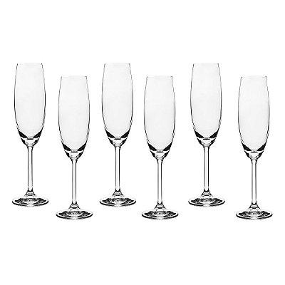 Jogo de Taças para Champagne- 6 Peças - Crystalite Bohemia