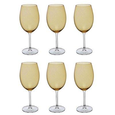 Jogo de Taças para Vinho Tinto - 6 Peças - Âmbar - Crystalite Bohemia