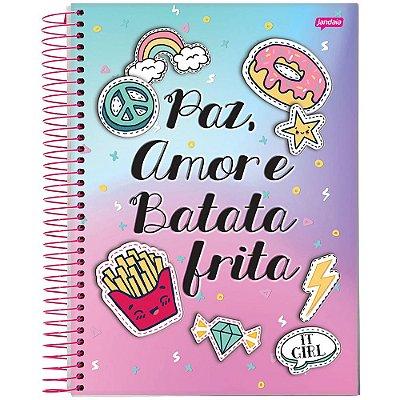 Caderno It Girl - 12 Matérias - Paz, Amor e Batata Frita - Jandaia