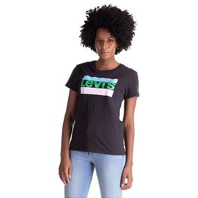 Camiseta Feminina Originals 2 listras - Preta - Levi's