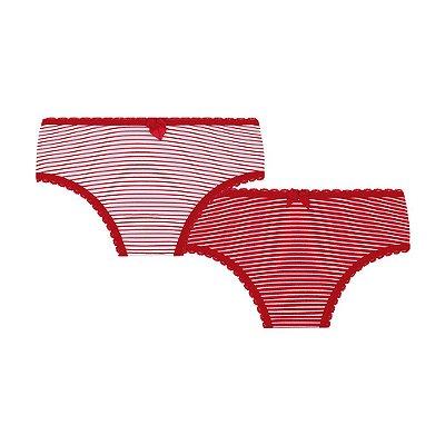 Kit Calcinha Infantil Listras Vermelha - Lupo