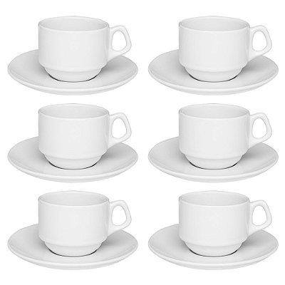 Jogo de Xícaras de Chá com Pires Empilháveis - 12 Peças - Oxford