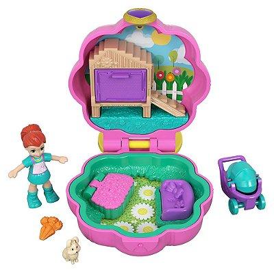 Polly Pocket Estojo Pequenos Lugares - Mini Lila - Jardim - Mattel