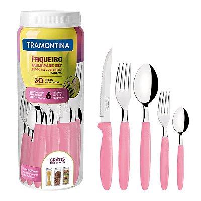 Faqueiro Ipanema - Rosa Claro - 30 Peças - Tramontina