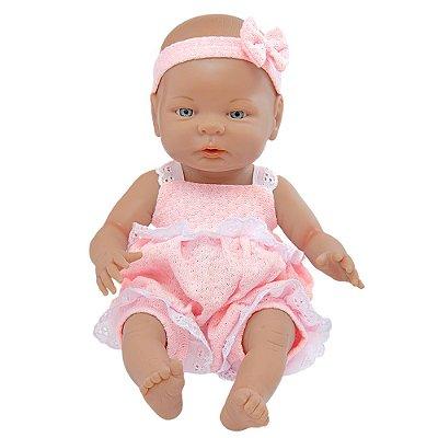 Boneca Recém-Nascida - Macacão Rosa e Faixa - Roma Babies