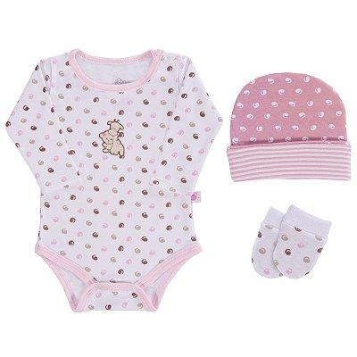Baby Kit de Presente Camafeu  - Rosa e Branco - 3 Peças - Colibri