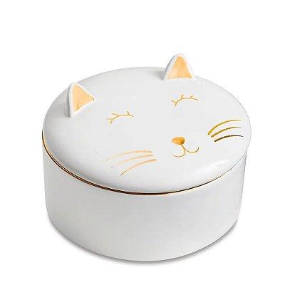 Caixa Redonda em Cerâmica com Tampa - Gato - 13cm - Mart
