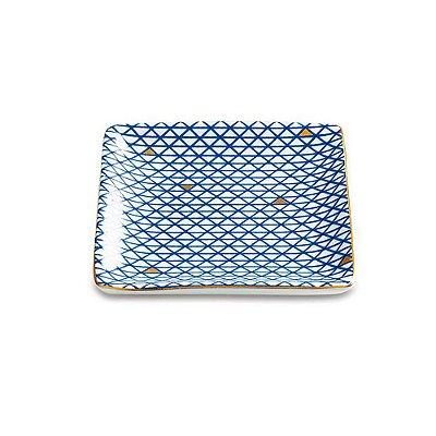 Mini Prato Quadrado Decorativo 11cm - Azul e Dourado - Mart