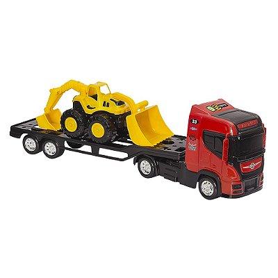 Top Truck Tractor - Caminhão com Semi-Reboque e Retroescavadeira - BS Toys