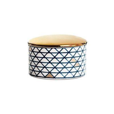 Pote em Cerâmica Com Tampa Dourada - Mart