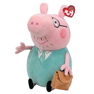 Pelúcia Beanie Buddies Ty Peppa Pig M - Daddy - DTC