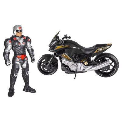 Boneco Fire Light Soldier com Moto Dark War - BS Toys