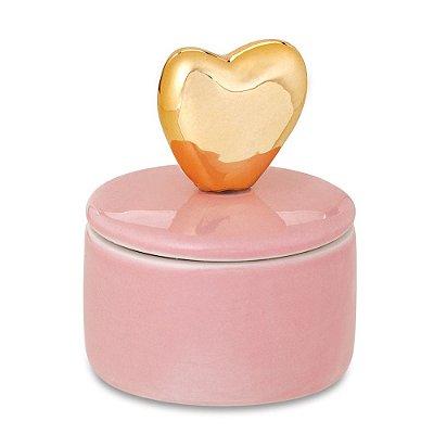 Porta Bijuteria em Cerâmica com Tampa - Coração Dourado - Mart