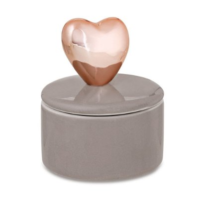 Porta Bijuteria em Cerâmica com Tampa - Coração Rose Gold - Mart