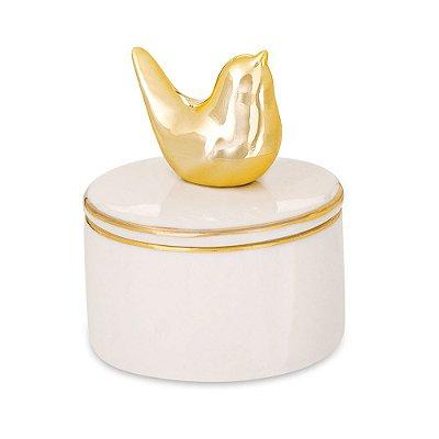 Porta Bijuteria em Cerâmica com Tampa - Pássaro Dourado - Mart