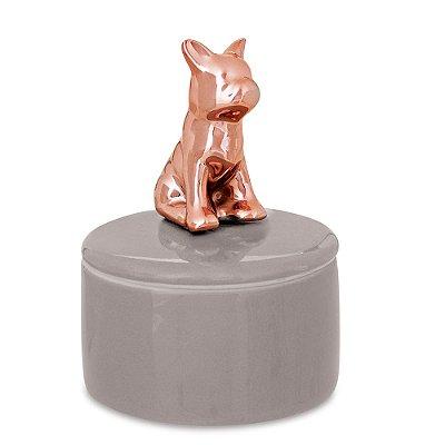 Porta Bijuteria em Cerâmica com Tampa - Cachorro Rose Gold - Mart