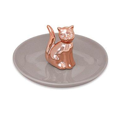 Porta Bijuteria em Cerâmica - Gato Rose Gold - Mart