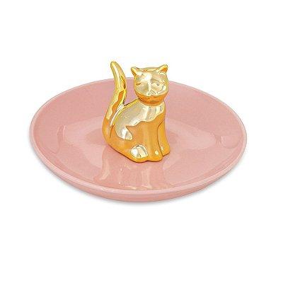Porta Bijuteria em Cerâmica - Gato Dourado - Mart