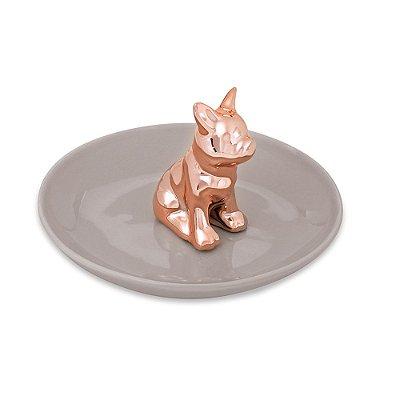 Porta Bijuteria em Cerâmica - Cachorro Rose Gold - Mart