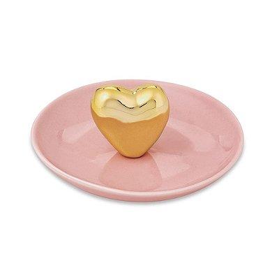 Porta Bijuteria em Cerâmica - Coração Dourado - Mart