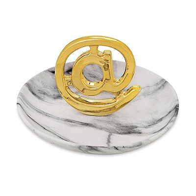 Porta Bijuteria Decorativo em Cerâmica - @ Dourado - Mart