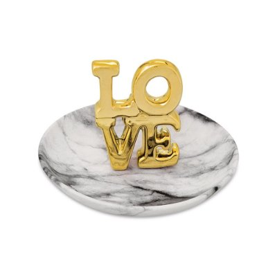 Porta Bijuterias Decorativo em Cerâmica - Love Dourado - Mart