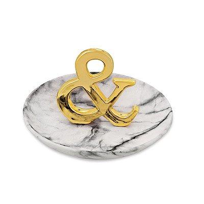 Porta Bijuteria Decorativo em Cerâmica - & Dourado - Mart