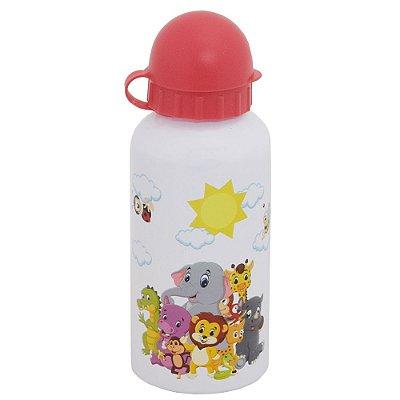 Garrafa Infantil Animais 400 ml - Branco e Vermelho - Interponte