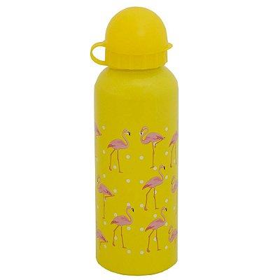 Garrafa de Alumínio Flamingos 500 ml - Amarelo - Interponte