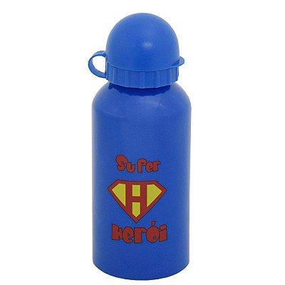 Garrafa Infantil Super Herói 400 ml - Azul - Interponte