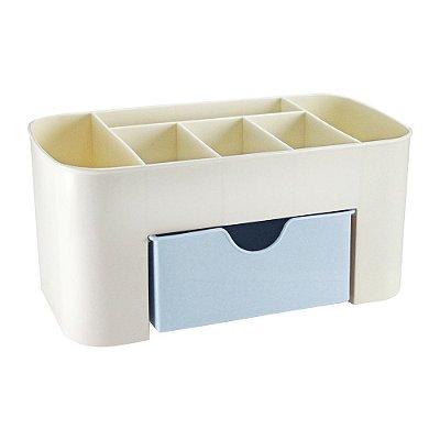 Organizador de Mesa Multifuncional com Gaveta - Azul - Jacki Design