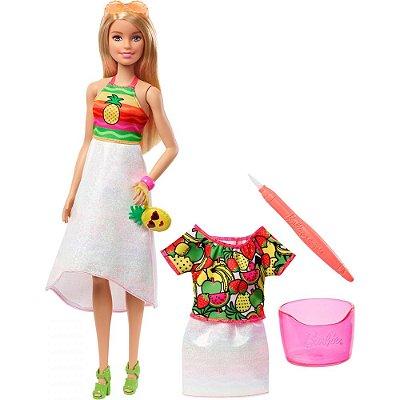 Boneca Barbie Crayola - Surpresa Frutas Arco-Íris - Mattel