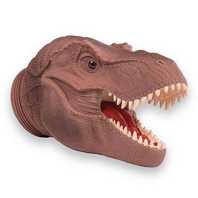 Pote Dino Word Cabeça T-Rex - Marrom - 6 Miniaturas - Cotiplás
