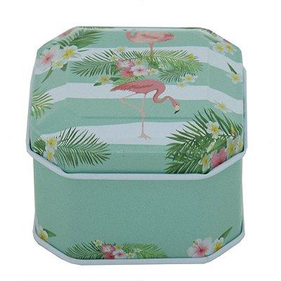 Porta Objetos com Tampa - Flamingos - Verde Claro - Interponte