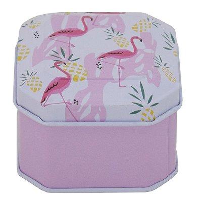Porta Objetos com Tampa - Flamingos - Branco e Rosa - Interponte