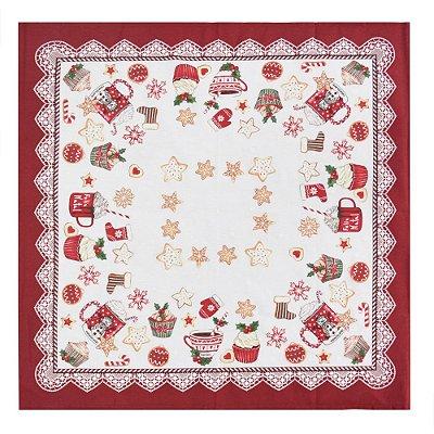 Toalha de Mesa Café do Noel - 78 x 78 cm - Karsten Natal